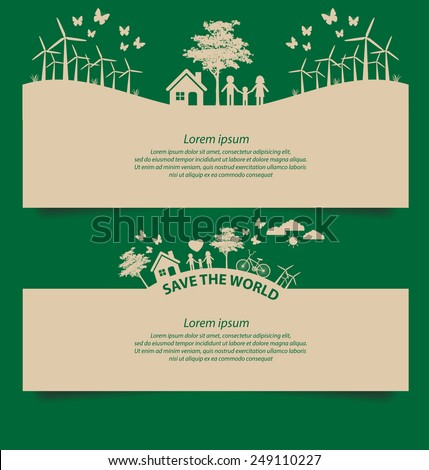 Design template banner set. Ecology concept vector illustration. - stock vector