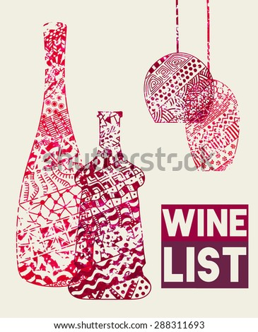 Design template for a wine menu with wineglasses and bottles in the style of zentangle. Hand-drawn. Isolated. Vector. - stock vector