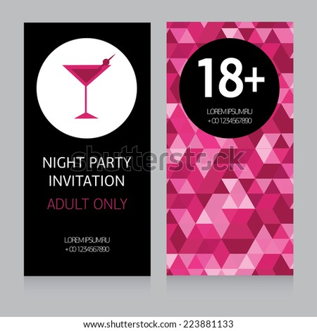 design template for night party invitation, vector illustration - stock vector