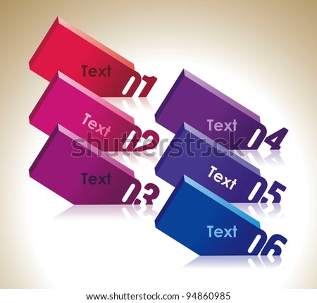 Design template numbered tablets - stock vector