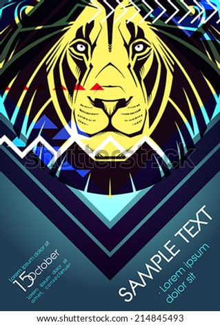 Design template with lion and place for text. Festival poster - stock vector