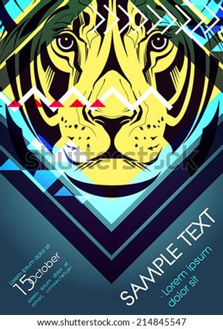 Design template with lioness and place for text. Festival poster - stock vector