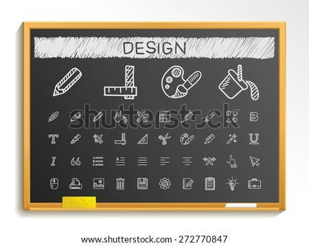 Design tools hand drawing line icons. Vector doodle pictogram set: chalk sketch sign illustration on blackboard with hatch symbols: palette, magic brush, PENCIL, pipette, bucket, clip, grid, bold. - stock vector