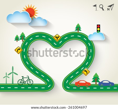 Design vector green road in form of heart with clouds and transportation icon. Romantic background with concept of travel, ecology, Vector Illustration EPS 10. - stock vector