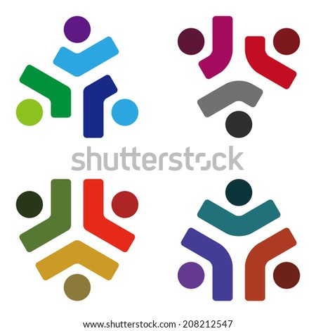 Design vector logo element. Abstract people icon. You can use in the media, mobile, public groups, alliances,kids, environmental, mutual aid associations and other social welfare agencies.  - stock vector