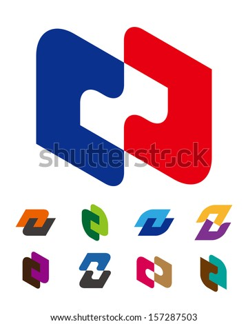 """Design vector logo template. """"c"""", """"d"""", """"n"""", """"z"""",""""u"""" letters icon set. You can use in the commerce, financial, traffic, construction and communication concept of pattern.  - stock vector"""
