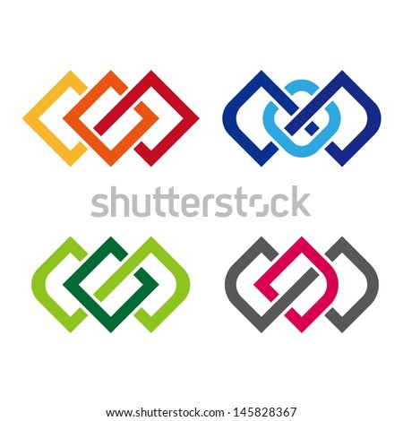 "Design vector logo template. ""c"", ""d"", ""s"", ""o"" letters icon set. You can use in the commerce, financial, construction ,spinning and communication concept of pattern.  - stock vector"