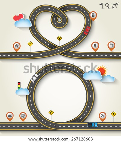 Design vector road frame in form of heart /circle with car and traffic signs. Concept of travel, Greeting card Valentines Day, Vector Template Background, Illustration EPS 10. - stock vector