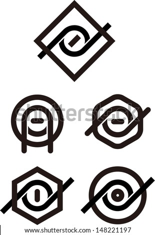 """Design vector round eyes logo template. """"A"""", """"P"""", """"d"""", """"O"""" letters icon set. You can use in the studio, coffee, tea, bar, awards, restaurant and other organization concept of pattern.  - stock vector"""