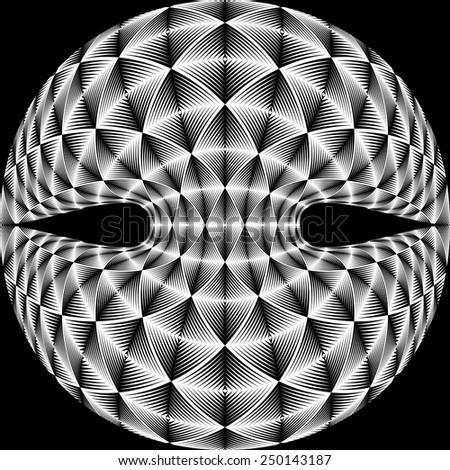 Design warped diamond trellised backdrop. Abstract geometric monochrome element. Vector-ar illustration. No gradient - stock vector