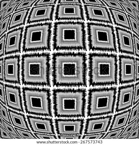 Design warped monochrome checked pattern. Abstract textured background. Vector-art illustration. No gradient - stock vector