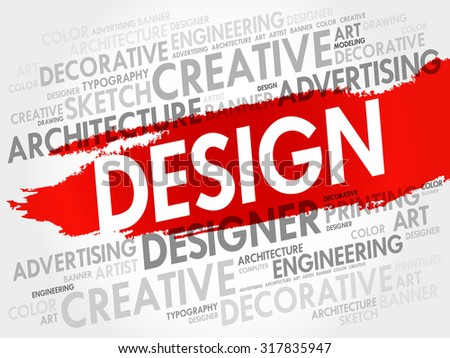 Design word cloud, creative business concept - stock vector
