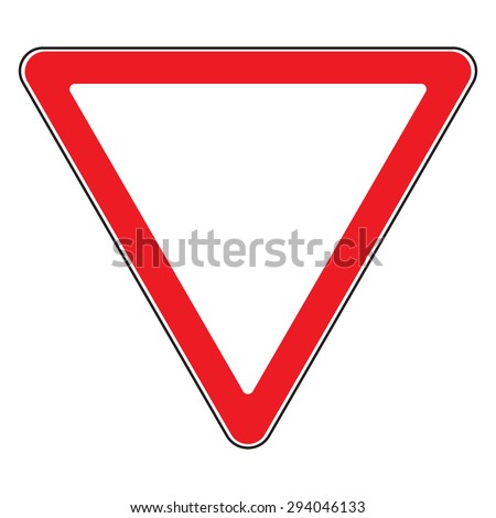 Design yield triangular road sign. Road sign give way isolated. Priority of traffic sign. Give Way. Blank triangular road sign. Road design over white background. Vector illustration  - stock vector