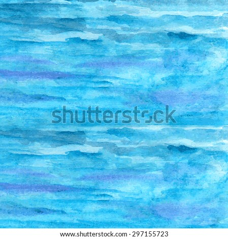 Designed grunge paper texture, striped watercolor background. Sea wallpaper. Design card for decor, scrapbook, banner, poster, print. Vector eps10 - stock vector