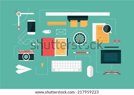 designer desk header - stock vector