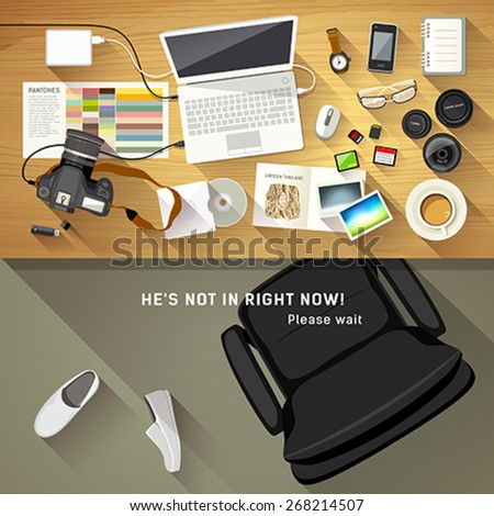 Designer desk photographer, collections of flat design of computer, camera and camera lens, Designers are resting concept, Equipment used for design, Top view of desk background, vector illustration - stock vector