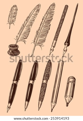 Designer set of pens, pens and pencils. Isolated on color background. 8 EPS   - stock vector