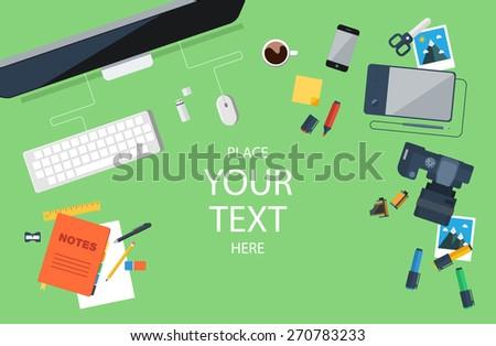 Designer workplace. Top view. Flat design. Vector illustration. - stock vector