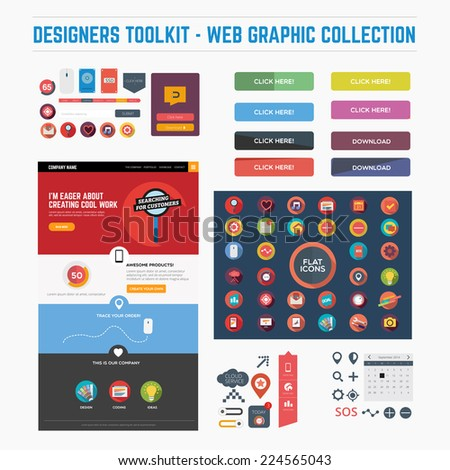 Designers toolkit - web graphic collection - stock vector