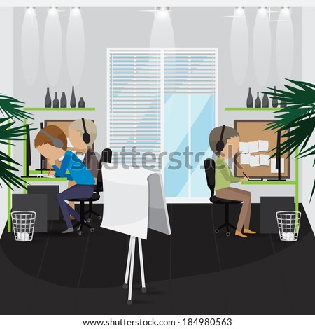 Designers - Vector Illustration, Graphic Design Editable For Your Design. Team Working In Office.  - stock vector