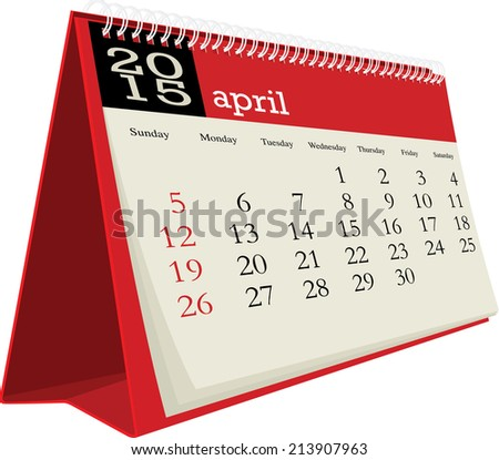 desk calendar 2015 april - stock vector