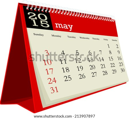 desk calendar 2015 may - stock vector