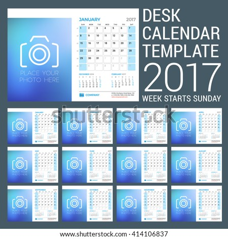 Desk Calendar Template for 2017 Year. Set of 12 Months. Vector Design Template with Place for Photo. 3 Months on Page. Week starts Sunday. Vector Illustration - stock vector