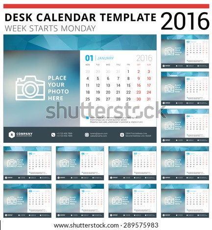 Desk Calendar 2016 Vector Design Template. Set of 12 Months. Week Starts Monday - stock vector