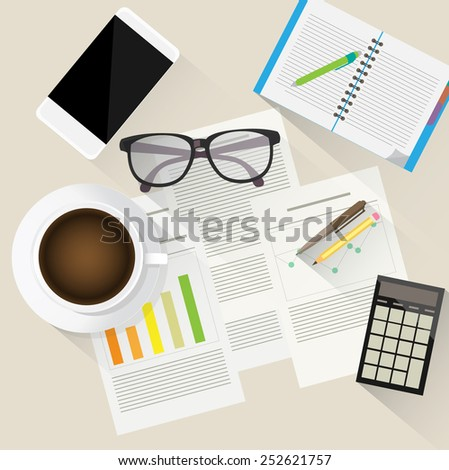 Desk from above vector illustration - stock vector