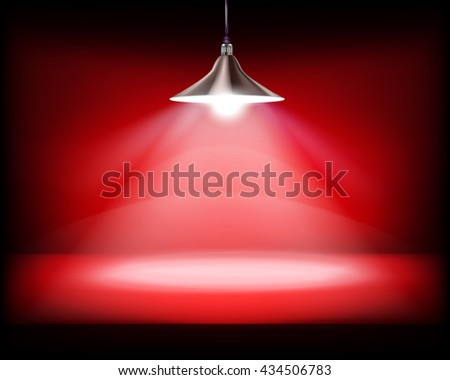 Desk with hanging lamp. Vector illustration. - stock vector