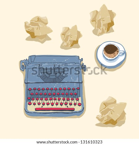 Desk with typewriter, paper and a cup coffee or tea - stock vector