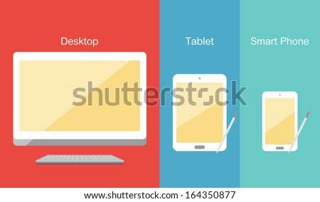 desktop and mobile device - stock vector