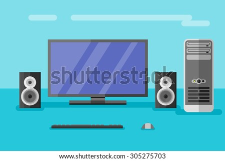 Desktop computer with monitor, speakers, keyboard and mouse. Flat style vector illustration.  - stock vector