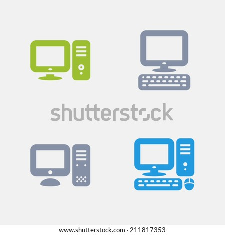 Desktop PC Icons. Granite Series. Simple glyph style icons in 4 versions. The icons are designed at 32x32 pixels. - stock vector