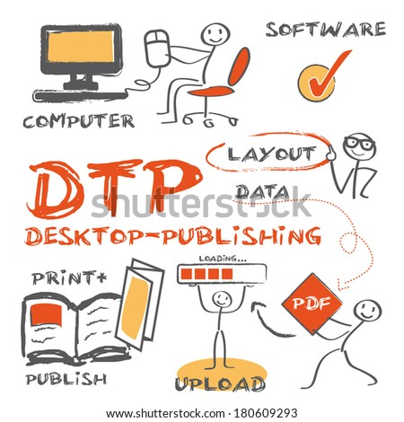 Desktop publishing is the creation of documents using page layout skills on a personal computer - stock vector