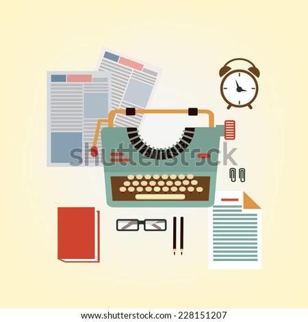 desktop typists illustration - stock vector