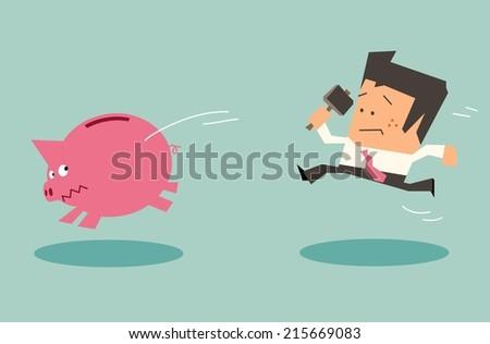 Desperate for money. Flat vector illustration - stock vector