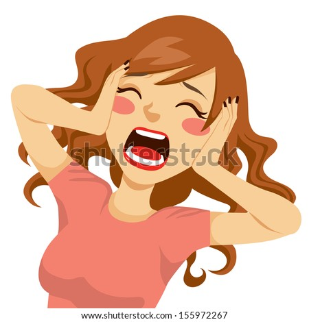 Desperate wild hair brunette woman shocked screaming with her hands on the head and mouth wide open - stock vector