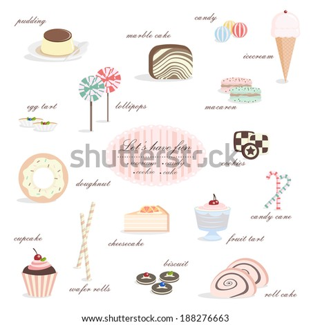 Dessert collection, including ice cream, candy, cake, cookies, doughnut, fruit tart, pudding, biscuit, macaroon, lollipop, candy cane etc.  - stock vector
