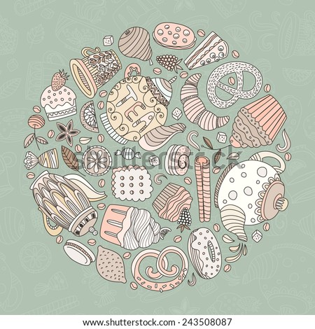 Dessert concept made in vector. Baked goods and sweets for your design. Cupcake, teapot, baked goods and other sweets. - stock vector