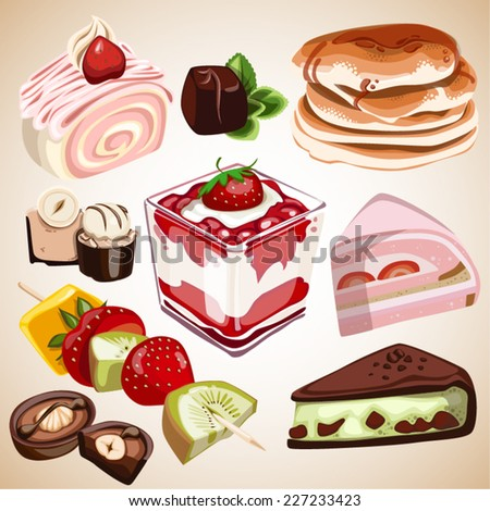 dessert food sweet candy Cake - stock vector