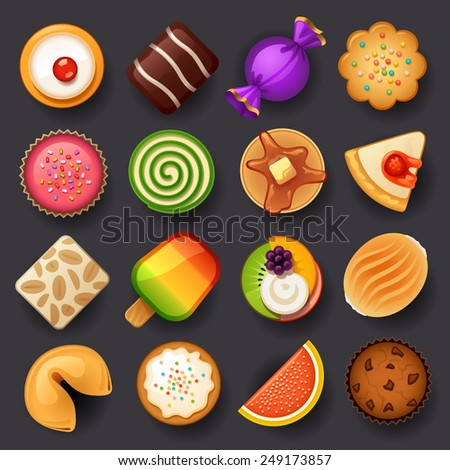 dessert icon set-3 - stock vector