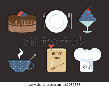 Dessert icon set. Icon set for bakery shop, cafe, restaurant.  - stock vector