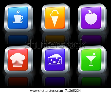 Dessert Icons on Square Button Collection with Metallic Rim Original Illustration - stock vector