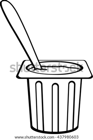 dessert in disposable cup with spoon - stock vector
