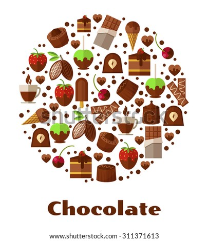 Desserts and delicacies, chocolate food round sign. Design snack product, breakfast biscuit confectionery. Vector illustration - stock vector