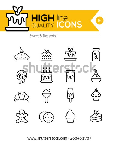 Desserts and Pastries Line Icons including: cake, donuts, cookies etc.. - stock vector