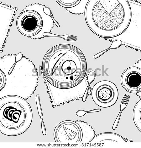 Desserts seamless pattern. Hand-drawn various dishware with desserts at a table. Black and white colors. Vector background. - stock vector