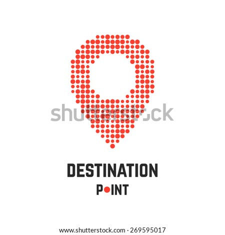 destination point with pin from dots. concept of creative company emblem, exact coordinates, positioning system, cartography, targeting. isolated on white background. flat style modern brand design - stock vector
