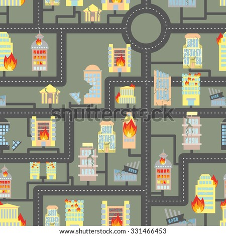 Destroyed city seamless. Fire in Business buildings and vehicles. Industrial background of modern metropolis after hostilities. Destroyed Skyscrapers and public property. - stock vector
